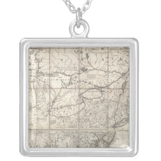 Map of the British and French Dominions Silver Plated Necklace