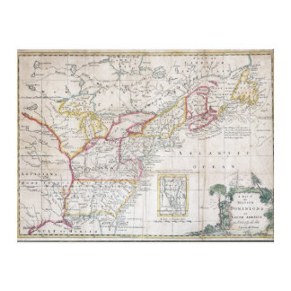Map of the British Dominions in 1763 Canvas Print
