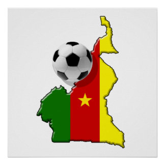 Map of the Cameroon Cameroun soccer ball gifts Poster
