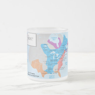Map of the Canada New France from 1750 Frosted Glass Coffee Mug