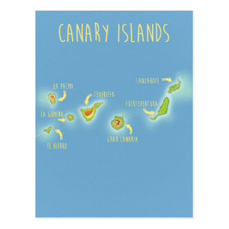 Map of the Canary islands Postcard