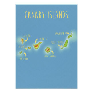 Map of the Canary islands Poster