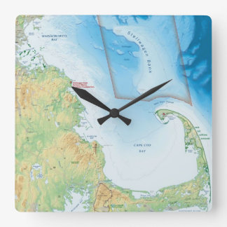 Map of the Cape Cod Bay Square Wall Clocks