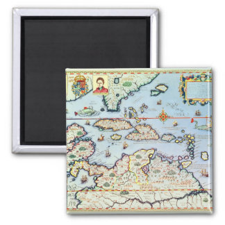 Map of the Caribbean islands 2 Inch Square Magnet