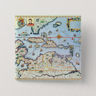 Map of the Caribbean islands Button