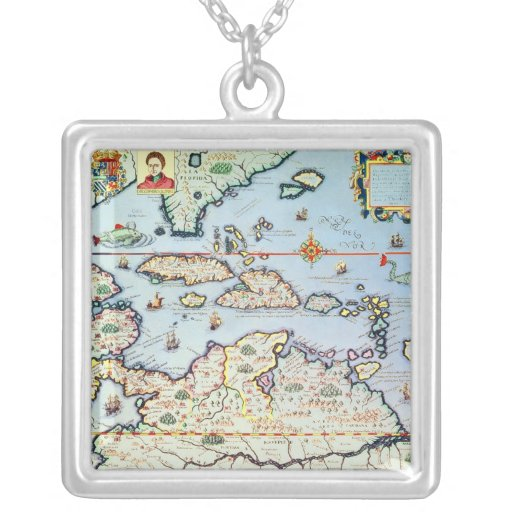 Map of the Caribbean islands Custom Necklace