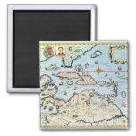 Map of the Caribbean islands Fridge Magnets