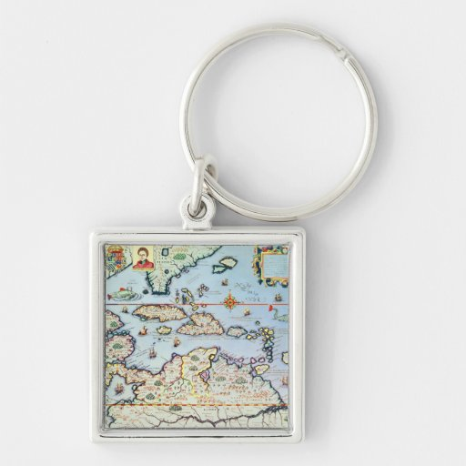 Map of the Caribbean islands Key Chain