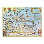 Map of the Caribbean islands Post Cards