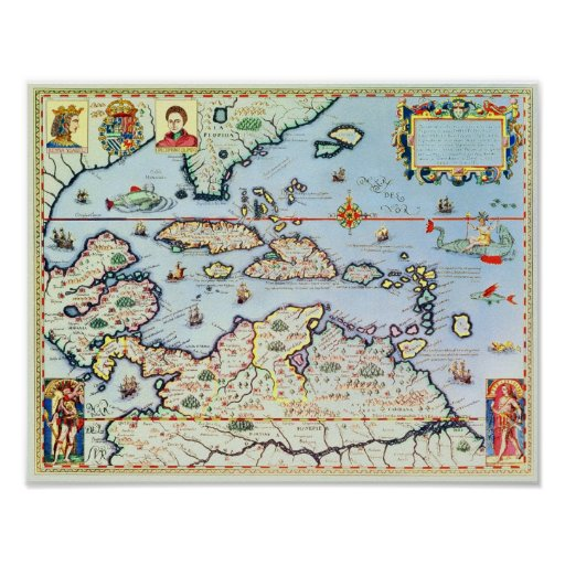 Map of the Caribbean islands Poster