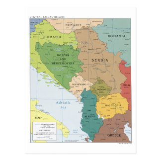 Map of the Central Balkan Region Postcard