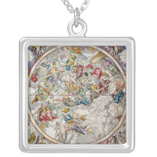 Map of the Christian Constellations as depicted Silver Plated Necklace