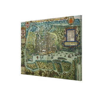 Map of the City and Portuguese Port of Goa, India, Stretched Canvas Prints