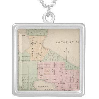 Map of the City of Albert Lea, Minnesota Square Pendant Necklace