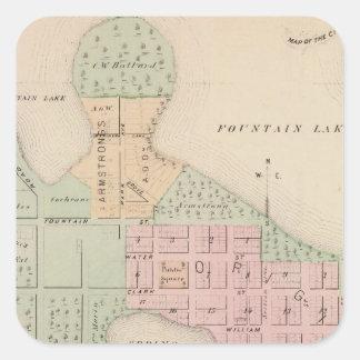 Map of the City of Albert Lea, Minnesota Square Sticker