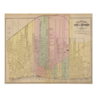Map of the City of Detroit Poster