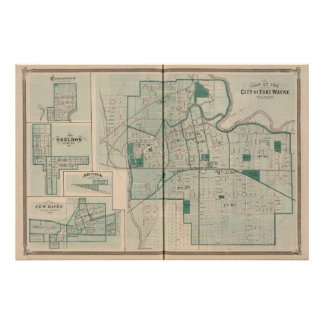 Map of the City of Fort Wayne with Cedarville Posters