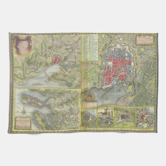 Map of the city of La Rochelle & Aunis France 1773 Kitchen Towel