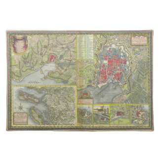 Map of the city of La Rochelle & Aunis France 1773 Place Mat