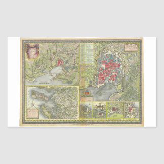 Map of the city of La Rochelle & Aunis France 1773 Rectangular Sticker
