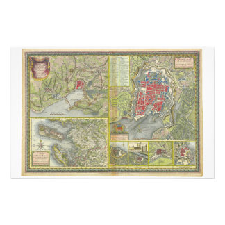 Map of the city of La Rochelle & Aunis France 1773 Stationery Design