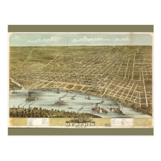 Map of the City of Memphis Tennessee (1870) Postcard