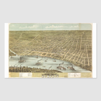 Map of the City of Memphis Tennessee (1870) Rectangular Sticker