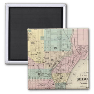 Map of the City of Milwaukee, Milwaukee Co 2 Inch Square Magnet