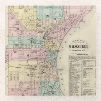 Map of the City of Milwaukee, Milwaukee Co Glass Coaster