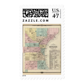 Map of the City of Milwaukee, Milwaukee Co Postage Stamp