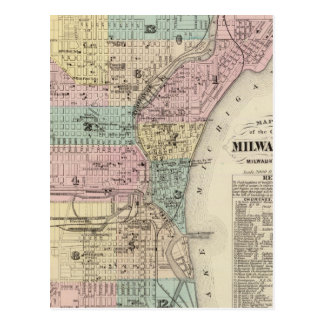 Map of the City of Milwaukee, Milwaukee Co Postcard