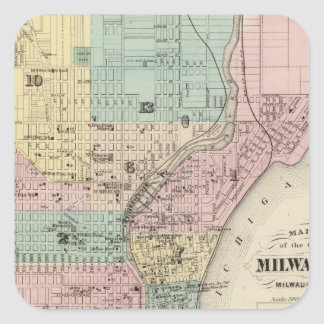 Map of the City of Milwaukee, Milwaukee Co Square Sticker