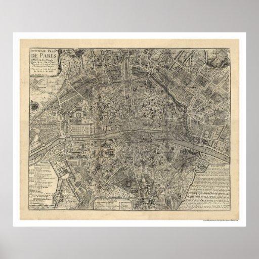 Map of the City of Paris by Nicolas de Fer 1700 Print