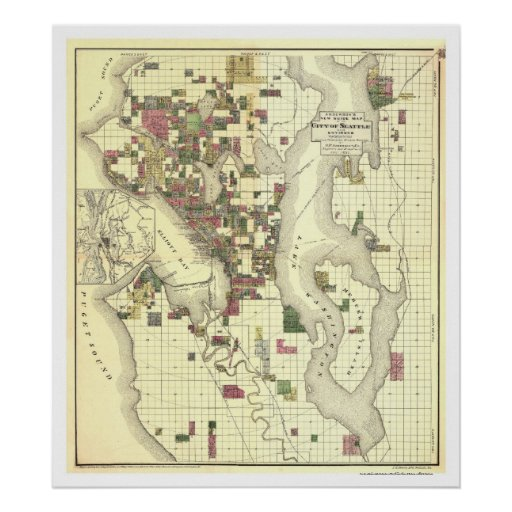 Map of the City of Seattle 1890 Poster