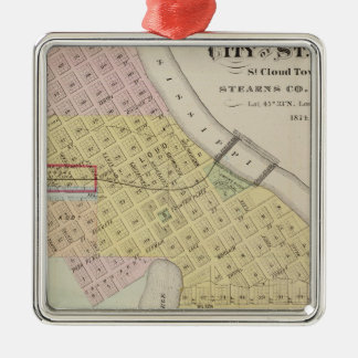 Map of the City of St. Cloud, Minnesota Metal Ornament