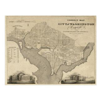 Map of the City of Washington D.C. (1820) Postcard