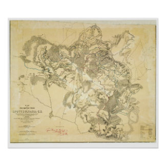 Map of the Civil War Battle Field Spottsylvania Poster
