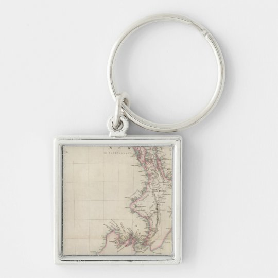 Map of the Colony of New Zealand Keychain