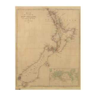 Map of the Colony of New Zealand Wood Wall Art