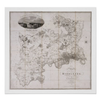 Map of the County of Middlesex, published 1819 (pr Poster
