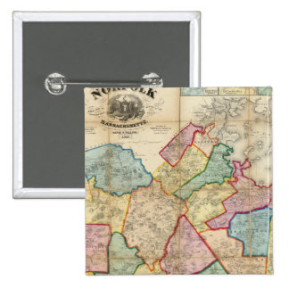 Map of the County of Norfolk, Massachusetts 2 Inch Square Button