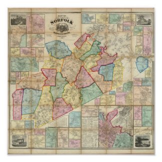 Map of the County of Norfolk, Massachusetts Poster