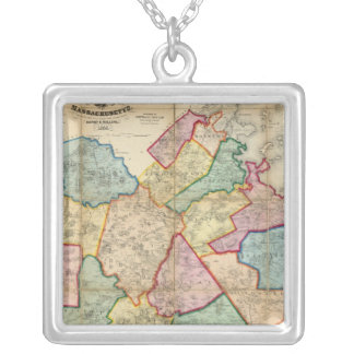 Map of the County of Norfolk, Massachusetts Square Pendant Necklace