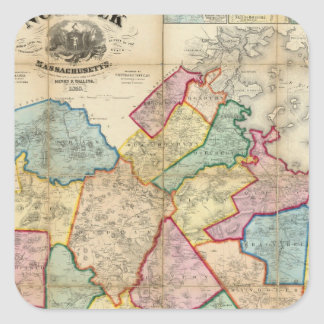 Map of the County of Norfolk, Massachusetts Square Sticker