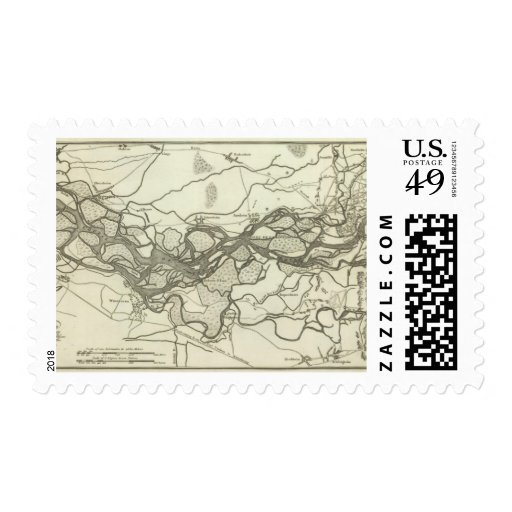 Map of the Course of the Rhine Stamp