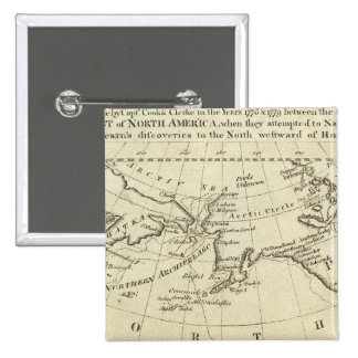 Map of the Discoveries made by Capts Cook & Clerk 2 Inch Square Button