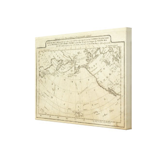 Map of the Discoveries made by Capts Cook & Clerk Canvas Print