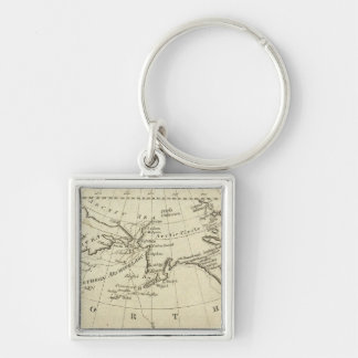 Map of the Discoveries made by Capts Cook & Clerk Silver-Colored Square Keychain