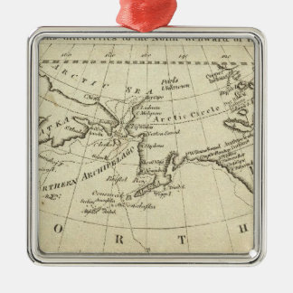 Map of the Discoveries made by Capts Cook & Clerk Square Metal Christmas Ornament