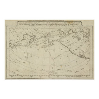 Map of the Discoveries made by Cook and Clerke 2 Poster
